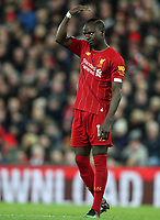 2nd January 2020; Anfield, Liverpool, Merseyside, England; English Premier League Football, Liverpool versus Sheffield United; Sadio Mane of Liverpool signals to his team mates before a set piece  - Strictly Editorial Use Only. No use with unauthorized audio, video, data, fixture lists, club/league logos or 'live' services. Online in-match use limited to 120 images, no video emulation. No use in betting, games or single club/league/player publications