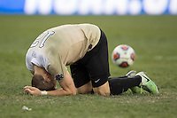 Houston, TX -  Sunday, December 11, 2016: Brad Dunwell (12) of the Wake Forest Demon Deacons reacts to missing his kick in the overtime shootout against the Stanford Cardinal at the  NCAA Men's Soccer Finals at BBVA Compass Stadium.