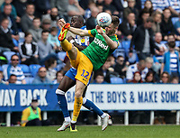 Preston North End's Paul Gallagher competing with Reading's Modou Barrow <br /> <br /> Photographer Andrew Kearns/CameraSport<br /> <br /> The EFL Sky Bet Championship - Reading v Preston North End - Saturday 30th March 2019 - Madejski Stadium - Reading<br /> <br /> World Copyright © 2019 CameraSport. All rights reserved. 43 Linden Ave. Countesthorpe. Leicester. England. LE8 5PG - Tel: +44 (0) 116 277 4147 - admin@camerasport.com - www.camerasport.com