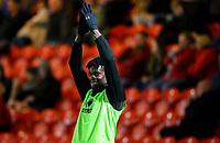 Blackpool's Armand Gnanduillet waves to fans after they sang his name<br /> <br /> Photographer Alex Dodd/CameraSport<br /> <br /> The EFL Sky Bet League One - Doncaster Rovers v Blackpool - Tuesday September 17th 2019 - Keepmoat Stadium - Doncaster<br /> <br /> World Copyright © 2019 CameraSport. All rights reserved. 43 Linden Ave. Countesthorpe. Leicester. England. LE8 5PG - Tel: +44 (0) 116 277 4147 - admin@camerasport.com - www.camerasport.com