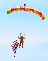 NWA Democrat-Gazette/BEN GOFF @NWABENGOFF<br /> Staff from Skydive Skyranch in Siloam Springs perform a demonstration dive on Saturday Sept. 12, 2015 during the Sheep Dog Impact Assistance annual Patriot Day event at Bentonville Municipal Airport. The event honored the victims of the Sept. 11, 2001 terrorist attacks and offered visitors a chance to get an up close look at military and emergency response vehicles.