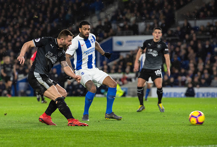 Burnley's Phillip Bardsley (left) under pressure from Brighton &amp; Hove Albion's Jurgen Locadi<br /> <br /> Photographer David Horton/CameraSport<br /> <br /> The Premier League - Brighton and Hove Albion v Burnley - Saturday 9th February 2019 - The Amex Stadium - Brighton<br /> <br /> World Copyright &copy; 2019 CameraSport. All rights reserved. 43 Linden Ave. Countesthorpe. Leicester. England. LE8 5PG - Tel: +44 (0) 116 277 4147 - admin@camerasport.com - www.camerasport.com