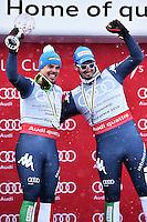 Peter Fill vince la coppa del mondo di Discesa Libera <br /> Sul podio con Dominik Paris <br /> Saint Moritz 16-03-2016 Sci Alpino <br /> Foto Manuel Lopez / Freshfocus / Insidefoto