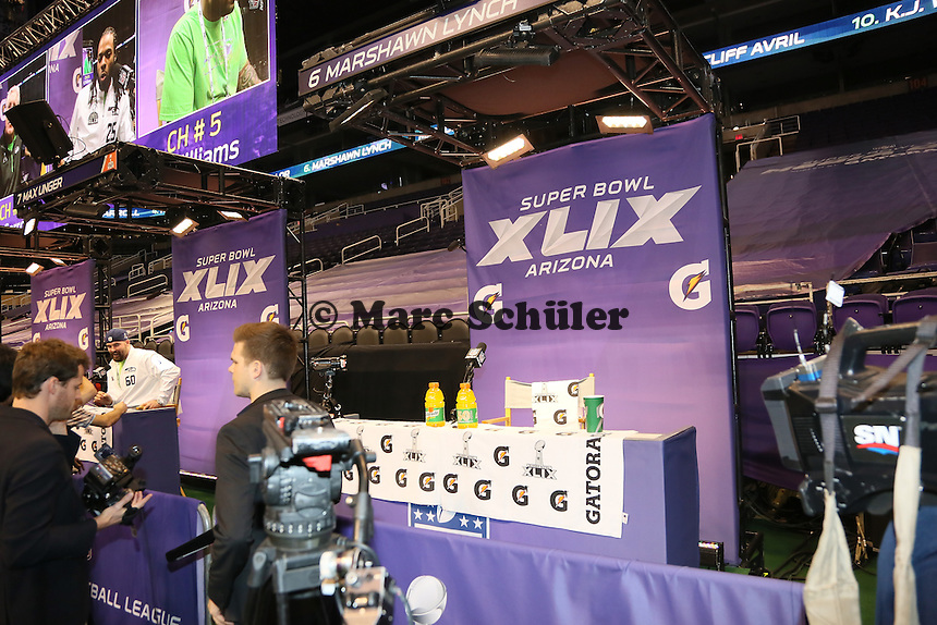 leerer Platz von RB Marshawn Lynch (Seattle) - Super Bowl XLIX Media Day, US Airways Center, Phoenix