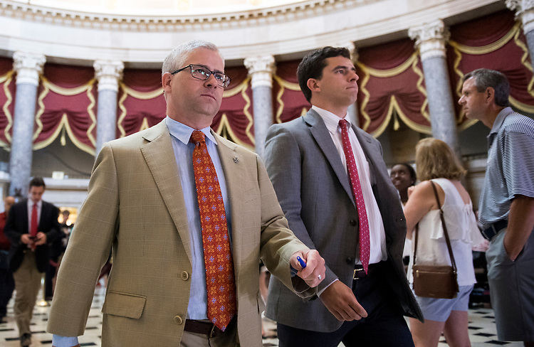 UNITED STATES - JULY 20: Rep. Patrick McHenry, R-N.C., walks through Statuary Hall to the House floor for a vote in the Capitol on Thursday, July 20, 2017. (Photo By Bill Clark/CQ Roll Call)