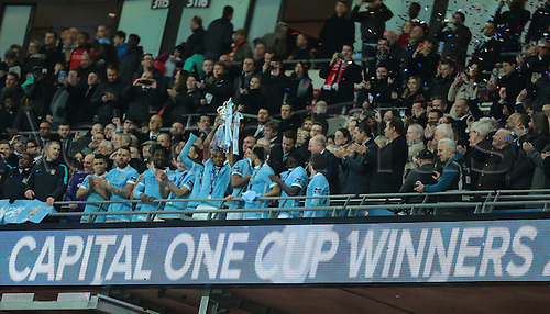 28.02.2016. Wembley Stadium, London, England. Capital One Cup Final. Manchester City versus Liverpool. Manchester City raise the Capital One Cup Trophy