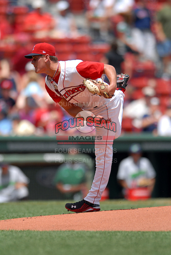 Lowell Spinners RHP MADISON YOUNGINER during a game vs. the Jamestown Jammers at Fenway Park in Boston, Massachusetts on July 10, 2010 Photo By Ken Babbitt/Four Seam Images