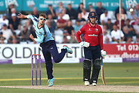 Karl Carver in bowling action for Yorkshire during Essex Eagles vs Yorkshire Vikings, Royal London One-Day Cup Play-Off Cricket at The Cloudfm County Ground on 14th June 2018