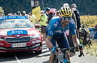 Alejandro Valverde (ESP/Movistar) up the Puy Mary (uphill finish)<br /> <br /> Stage 13 from Châtel-Guyon to Pas de Peyrol (Le Puy Mary) (192km)<br /> <br /> 107th Tour de France 2020 (2.UWT)<br /> (the 'postponed edition' held in september)<br /> <br /> ©kramon