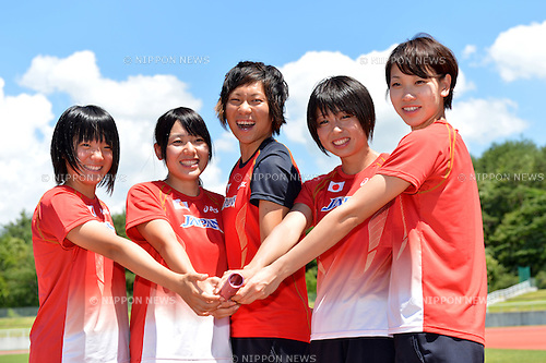 (L to R) Anna Doi (JPN), Yumeka Sano (JPN),.Momoko Takahashi (JPN), Kana Ichikawa (JPN), Chisato Fukushima (JPN), .JULY 17, 2012 - Athletics : Japan National Athletics Team Men's and Women's during short distance and hurdle member training before London Olympic Games 2012 at Fujihokuroku Park Athletics Stadium, Yamanashi, Japan. (Photo by Jun Tsukida/AFLO SPORT) [0003] .