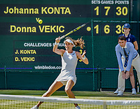 London, England, 5 th July, 2017, Tennis,  Wimbledon,     Johanna Konta (GBR) in action against Donna Vekic (CRO)<br /> Photo: Henk Koster/tennisimages.com