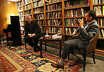 Rick Elice and Andrew Lippa attends the Dramatists Guild Fund Salon With Rick Elice at the Cornell Club on March 6, 2017 in New York City.