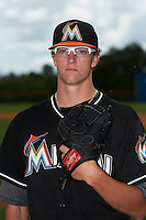 GCL Marlins pitcher Chris Paddack (40) poses for a photo before the second game of a doubleheader against the GCL Mets on July 24, 2015 at the St. Lucie Sports Complex in St. Lucie, Florida.  GCL Marlins defeated the GCL Mets 5-4.  (Mike Janes/Four Seam Images)