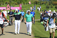 Team Ireland / Paul Dunne &amp; Gavin Moynihan in action on day 2 at the GolfSixes played at The Centurion Club, St Albans, England. <br /> 06/05/2018.<br /> Picture: Golffile | Phil Inglis<br /> <br /> <br /> All photo usage must carry mandatory copyright credit (&copy; Golffile | Phil Inglis)