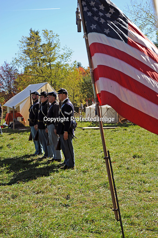 Civil War Reenactment Union Army Camp Rifle Drill and Flag
