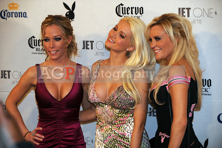 "Stars of ""The Girls Next Door"" Kendra Wilkinson, Holly Madison, center, and Bridget Marquardt poseat Playboy's ninth annual ""Super Saturday Night""  party in at Playboy's Desert Oasis and Resort in Chandler, Arizona Saturday February 2, 2008.   (Photo by Alan Greth)"