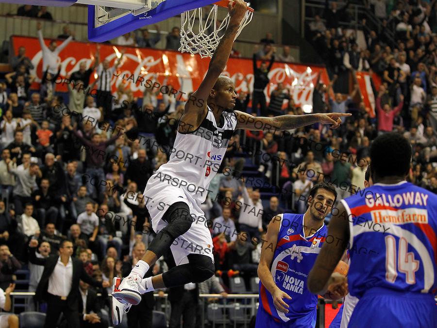 Kosarka ABA League season 2013-2014<br /> Partizan Vs. Igokea (Aleksandrovac)<br /> Tarence Kynsey (L) reacts<br /> Beograd, 06.10.2013.<br /> foto: Srdjan Stevanovic/Starsportphoto &copy;