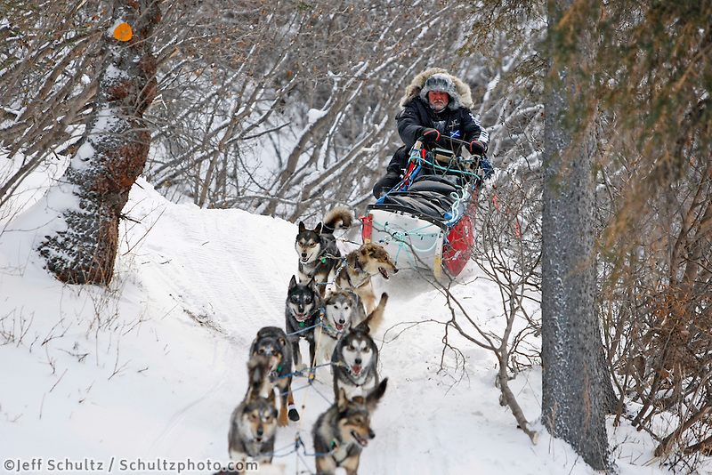 Tuesday  March 7 , 2010  Scottish musher Wattie McDonald manuevers his sled over moguls on the narrow trail in the Dalzell Gorge on the trail to Rohn between Rainy Pass summit and Rohn.