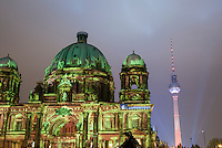 The Berliner Dom at the festivla of light showing some unusual lights on it