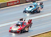 Jul 23, 2017; Morrison, CO, USA; NHRA funny car driver Jonnie Lindberg (near) alongside Jeff Diehl during the Mile High Nationals at Bandimere Speedway. Mandatory Credit: Mark J. Rebilas-USA TODAY Sports