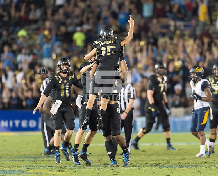 PASADENA< CA - October 22, 2015: The Cal Bears Football team vs the UCLA Bruins at the Rose Bowl in Pasadena, CA.  Final score, Cal Bears 24, UCLA Bruins 40.