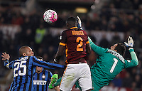 Calcio, Serie A: Roma vs Inter. Roma, stadio Olimpico, 19 marzo 2016.<br /> Roma&rsquo;s Antonio Ruediger, center, heads the ball past FC Inter&rsquo;s Miranda, left, and goalkeeper Samir Handanovic, during the Italian Serie A football match between Roma and FC Inter at Rome's Olympic stadium, 19 March 2016. The game ended 1-1.<br /> UPDATE IMAGES PRESS/Isabella Bonotto