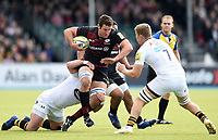 Calum Clark of Saracens takes on the Wasps defence. Aviva Premiership match, between Saracens and Wasps on October 8, 2017 at Allianz Park in London, England. Photo by: Patrick Khachfe / JMP