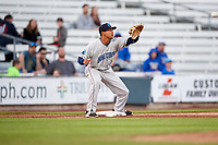 Lake County Captains third baseman Jorma Rodriguez (11) waits to receive a throw during a game against the Quad Cities River Bandits on May 6, 2017 at Modern Woodmen Park in Davenport, Iowa.  Lake County defeated Quad Cities 13-3.  (Mike Janes/Four Seam Images)