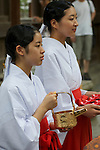 August 17th, 2011- Mishima, Shizuoka, Japan- Shrine attendents wait to pour ceremonial rice wine at the closing ceremony of a Yabusame ritual held at Mishima Taisha Shrine.