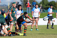 Pakuranga's Fea Puamoto passes from a ruck during the Auckland Premier club rugby Alan McEvoy Trophy match between Pakuranga and Grammar TEC at Bell Park in Auckland, New Zealand on Saturday, 9 June 2018. Photo: Dave Lintott / lintottphoto.co.nz