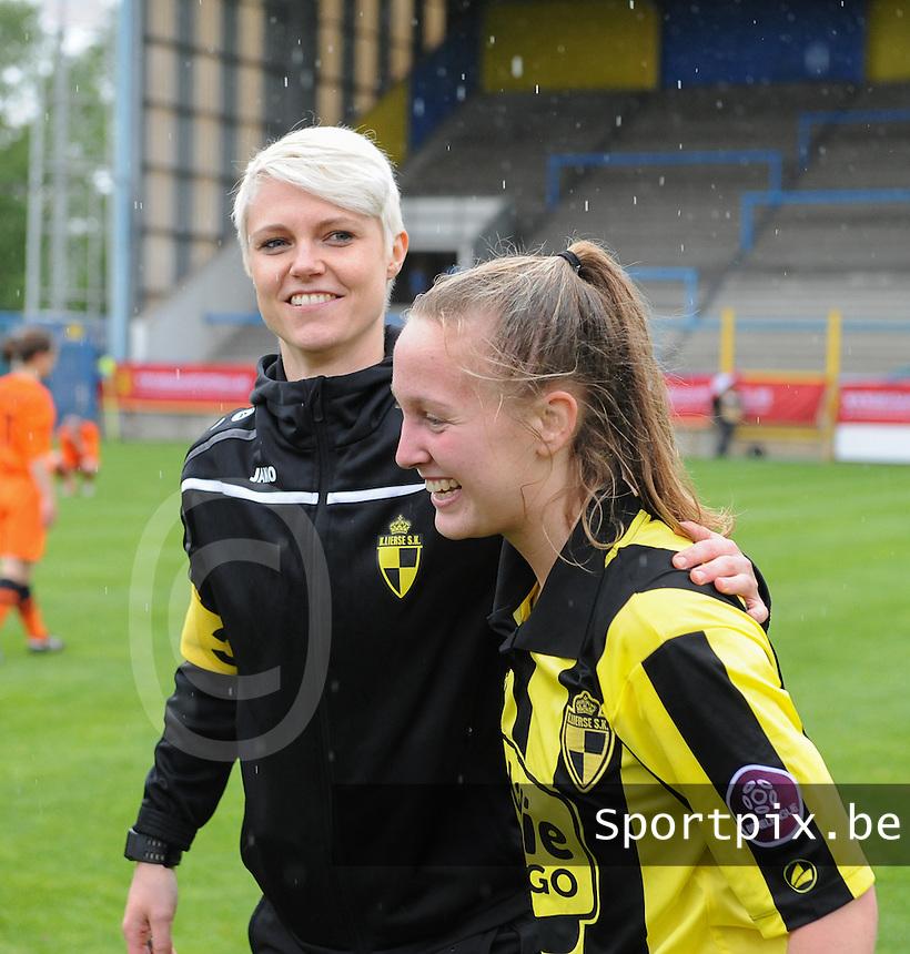 Bekerfinale vrouwen 2015 : Lierse-Club Brugge Vrouwen :<br /> <br /> vreugdetaferelen na het eindsignaal bij de speelsters van Lierse<br /> foto VDB / BART VANDENBROUCKE