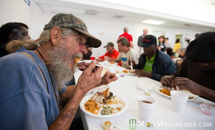 Homeless ECHO client Bill Oliver enjoy a Thanksgiving meal at the Big Bend Homeless Coalition on Pensacola Street in Tallahassee, Florida November 25, 2010.  Oliver lives in the woods in the Apalachicola National Forest...Credit: Mark Wallheiser