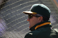 OAKLAND, CA - SEPTEMBER 4:  Manager Bob Geren of the Oakland Athletics watches batting practice before the game against the Los Angeles Angels of Anaheim at the Oakland-Alameda County Coliseum on September 4, 2010 in Oakland, California. Photo by Brad Mangin