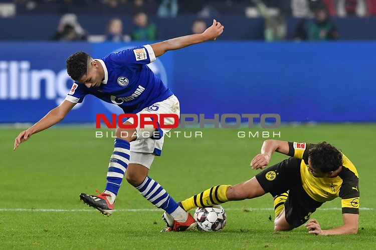 08.12.2018, Veltins-Arena, Gelsenkirchen, GER, 1. FBL, FC Schalke 04 vs. Borussia Dortmund, DFL regulations prohibit any use of photographs as image sequences and/or quasi-video<br /> <br /> im Bild v. li. im Zweikampf Amine Harit (#25, FC Schalke 04) Thomas Delaney (#6, Borussia Dortmund) <br /> <br /> Foto &copy; nordphoto/Mauelshagen