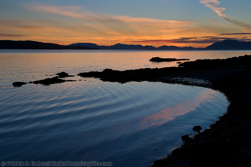 Sunset along the shores of the Tongass Narrows near Ketchikan, southeast, Alaska.