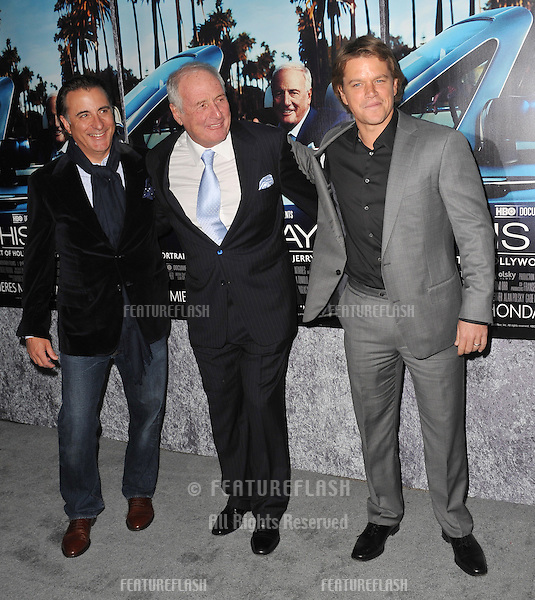 "Andy Garcia (left), Jerry Weintraub & Matt Damon at the premiere of the HBO Documentary ""His Way"", about legendary film producer & manager Jerry Weintraub, at Paramount Studios, Hollywood..March 22, 2011  Los Angeles, CA.Picture: Paul Smith / Featureflash"