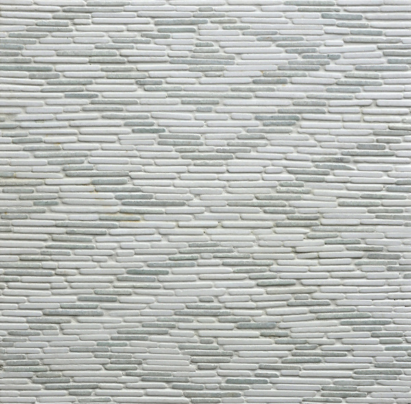 Remi,a hand cut stone mosaic, shown in tumbled Thassos and Ming Green.