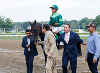 Quidura (no. 5) wins the Woodford Reserve Ballston Spa Stakes (Grade 2), Aug. 25, 2018 at the Saratoga Race Course, Saratoga Springs, NY.  Ridden by  Jose Ortiz, and trained by Chad Brown, Quidura finished 1 3/4 lengths in front of Hawksmoor (No. 4).  (Bruce Dudek/Eclipse Sportswire)