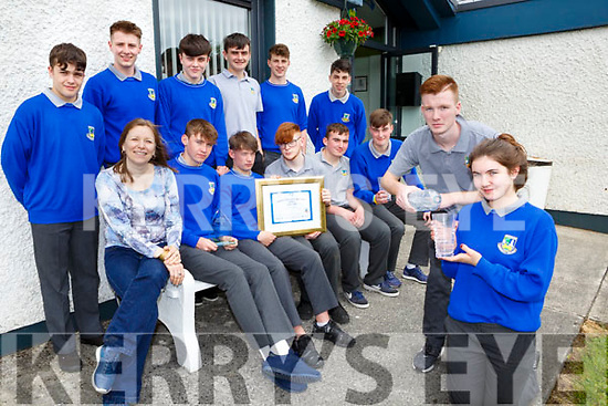 Matthew Broderick and Maeve Young  and  students from Castleisland Community College who won the Water Explorer National title last week front row l-r:  Doreen Killington teacher, adam O'Donoghue, Ben Cooney, Eric O'Sullivan, Kevin Lenihan, Mark O'Donoghue, Back row Conor O'Sullivan, James McDonnald, Kevin Keane, DJ Fealy, Greig Curran, Eamon Nolan