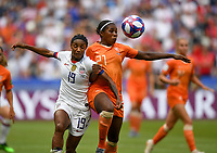 20190707 - LYON , FRANCE : American Crystal Dunn (left) pictured in a duel with Dutch Lineth Beerensteyn during the female soccer game between The United States of America – USA-  and the Netherlands – Oranje Leeuwinnen -, the final  of the FIFA Women's  World Championship in France 2019, Sunday 7 th July 2019 at the Stade de Lyon  Stadium in Lyon  , France .  PHOTO SPORTPIX.BE | DAVID CATRY