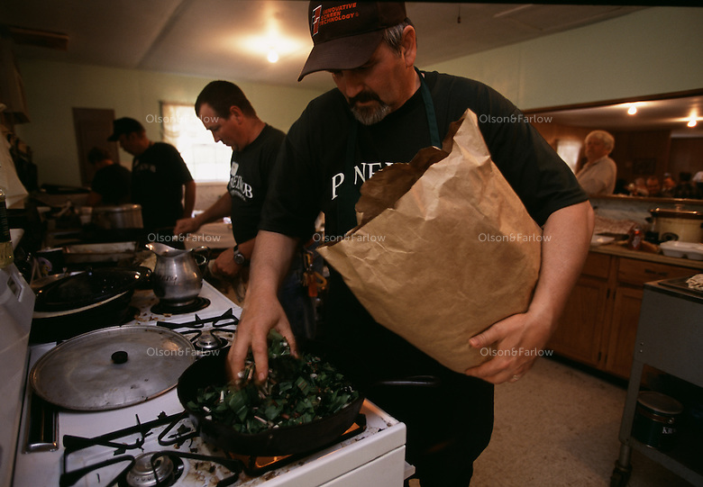 Men take to the kitchen to cook ramps as the community gets together in the spring to have special dinners.  The wild onion comes up in the spring and this church built a building just to host these dinners. Woodland plants are more rare as land is taken over for mining.