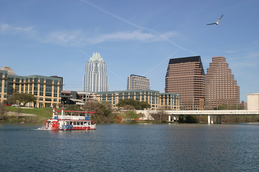 Perfect bright sunny day for a cruise, canoeing or kyaking on the beautiful blue waters of Town Lake in Austin.