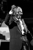 Nelson Mandela, anti apartheid activist and President of South Africa, visits Boston MA after his release from prison at June 23, 1990