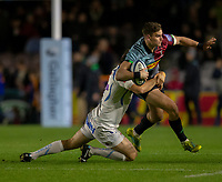 Harlequins' James Lang in action during todays match<br /> <br /> Photographer Bob Bradford/CameraSport<br /> <br /> Gallagher Premiership Round 9 - Harlequins v Exeter Chiefs - Friday 30th November 2018 - Twickenham Stoop - London<br /> <br /> World Copyright © 2018 CameraSport. All rights reserved. 43 Linden Ave. Countesthorpe. Leicester. England. LE8 5PG - Tel: +44 (0) 116 277 4147 - admin@camerasport.com - www.camerasport.com
