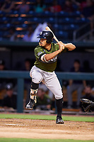 Biloxi Shuckers right fielder Trent Grisham (6) at bat during a game against the Jacksonville Jumbo Shrimp on June 8, 2018 at Baseball Grounds of Jacksonville in Jacksonville, Florida.  Biloxi defeated Jacksonville 5-3.  (Mike Janes/Four Seam Images)
