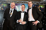 © Joel Goodman - 07973 332324 . 03/03/2016 . Manchester , UK . Michael Hardacre , president of Manchester Law Society , winner Team of the Year (obo Eversheds) SIMON MASTERS (centre) . The Manchester Legal Awards from the Midland Hotel . Photo credit : Joel Goodman