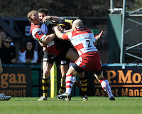 Rugby Aviva Premiership. High Wycombe, England. James Simpson-Daniel of Gloucester Rugby tackled during the Aviva Premiership match between London Wasps and Gloucester Rugby at Adams Park, High Wycombe, England. April 1 2012.