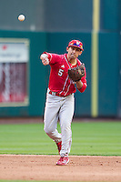 Nebraska Cornhuskers shortstop Steven Reveles (5) makes a throw to first base during Houston College Classic against the Texas A&M Aggies on March 6, 2015 at Minute Maid Park in Houston, Texas. Texas A&M defeated Nebraska 2-1. (Andrew Woolley/Four Seam Images)