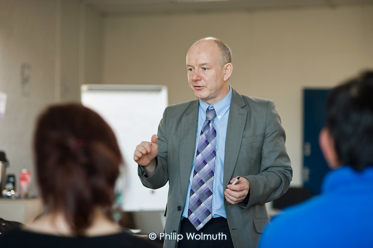 Jeff Brindley conducts a one day Food Hygiene training, part of a two week welfare-to-work course run by Rochdale and Oldham Groundwork for claimants on Job Seekers Allowance that qualifies as Mandatory Work Related Activity.