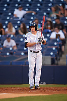 Tampa Yankees third baseman Kyle Holder (12) at bat during a game against the Fort Myers Miracle on April 12, 2017 at George M. Steinbrenner Field in Tampa, Florida.  Tampa defeated Fort Myers 3-2.  (Mike Janes/Four Seam Images)